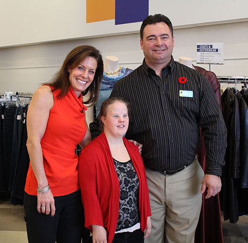Cheryl Bernard, Kelsey Wood and Dale Monaghan, Goodwill President and CEO.