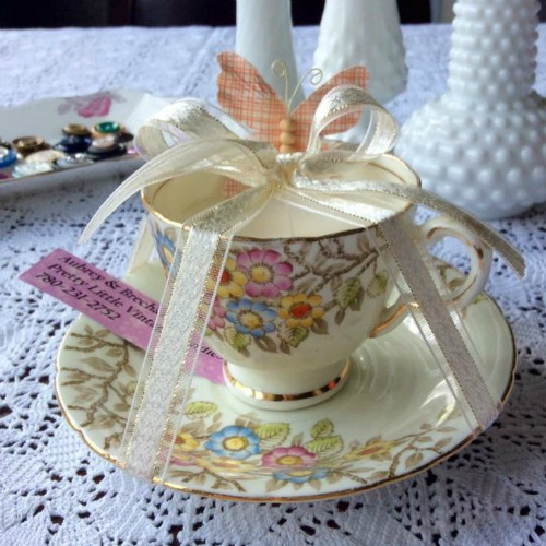 Tea Cup Candle by Nicole Kennedy for Aubrey & Brechan Pretty Little Vintage Candles.