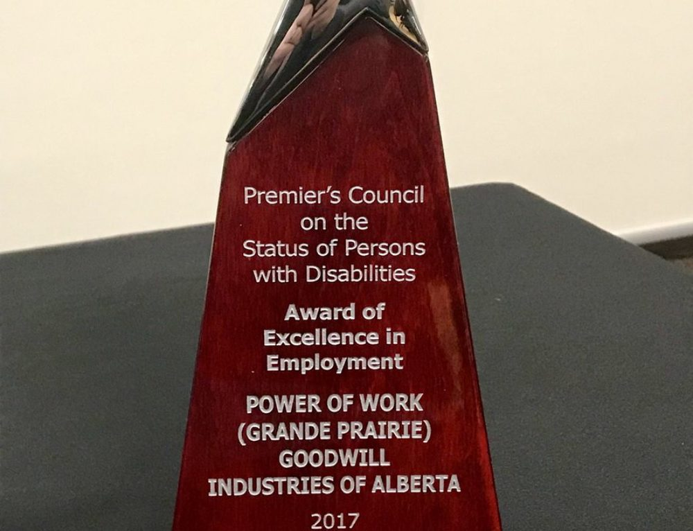 Goodwill's Power of Work Grande Prairie Wins Premier's Council Award of Excellence in Employment