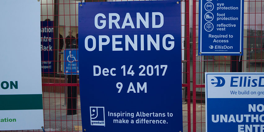 Grand Opening Sign at Goodwill SouthPark Construction Site