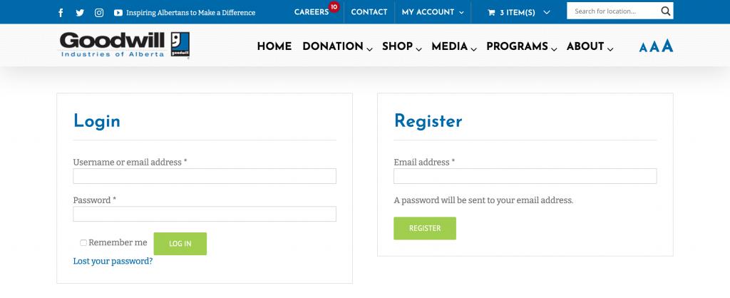 online thrift store account creation