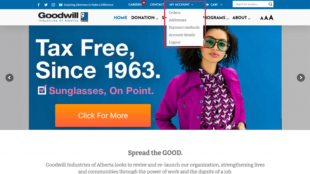 Goodwill online thrift store account options