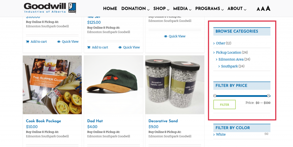 online thrift store shopping categories